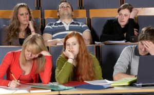 View of students during a boring presentation