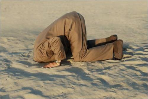 glava u pijesku, pijesak